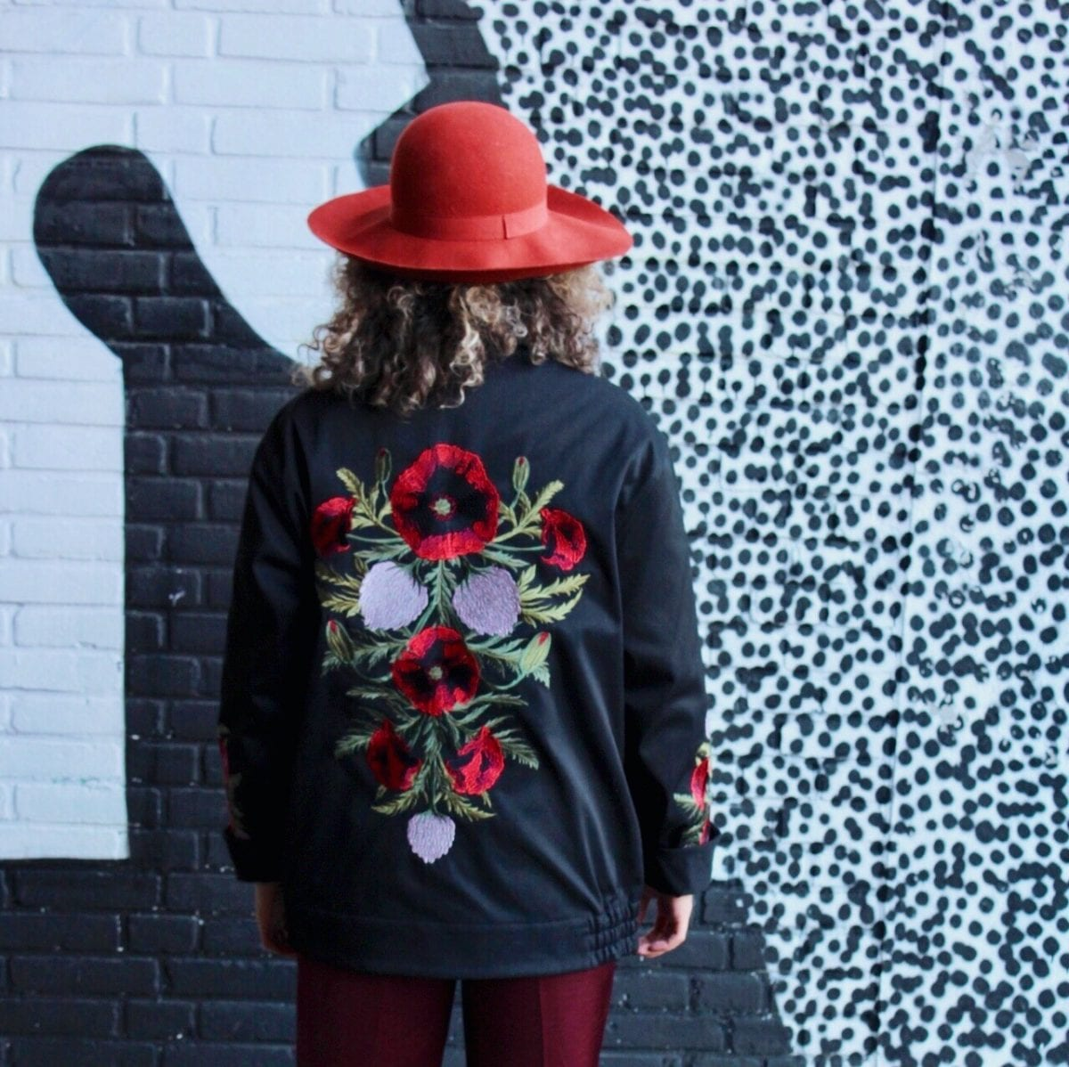 H&M Embroidered Jacket Worn with: LA NY Graphic Tee
